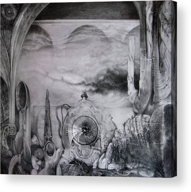 Graphite Drawing Acrylic Print featuring the drawing Portal To Bogomils Universe Iv by Otto Rapp