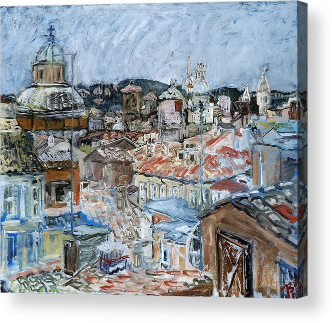 Cityscape Acrylic Print featuring the painting Roofs of Rome by Joan De Bot