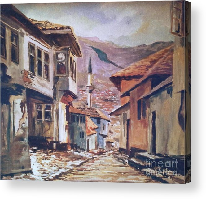 Acrylic Paintings Acrylic Print featuring the painting Sarajevo Old Town by Sinisa Saratlic