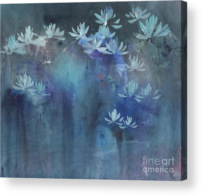 Lotus Flowers Shimmering At Night In The Field Acrylic Print featuring the painting Shimmering In The Night II by Mui-Joo Wee