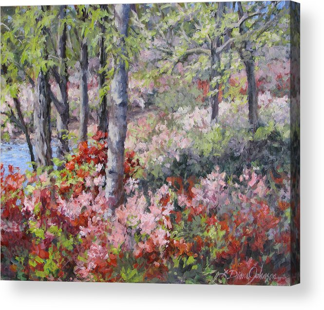 Azaleas Acrylic Print featuring the painting Stars of Spring by L Diane Johnson