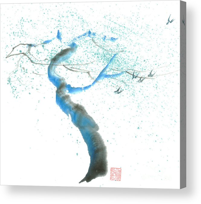 A Swaying Tree With Birds Acrylic Print featuring the painting Strong Wind by Mui-Joo Wee