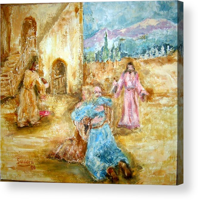 People Mountain Trees Balcony Portrait Religious Acrylic Print featuring the painting The Prodigal Son by Joseph Sandora Jr