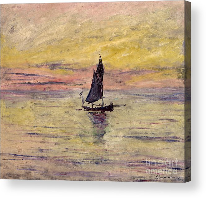 French Acrylic Print featuring the painting The Sailing Boat Evening Effect by Claude Monet