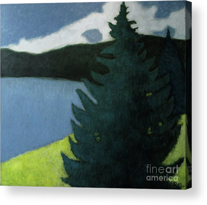 Landscape Acrylic Print featuring the painting Up- north Landscape by Raimonda Jatkeviciute-Kasparaviciene