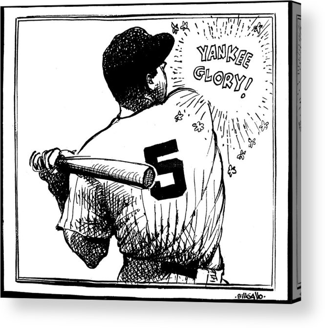 People Acrylic Print featuring the photograph Cartoon New York Yankees Joe Dimaggio by New York Daily News Archive