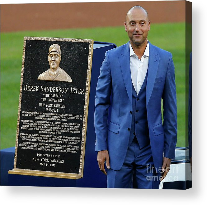 Three Quarter Length Acrylic Print featuring the photograph Derek Jeter Ceremony by Rich Schultz
