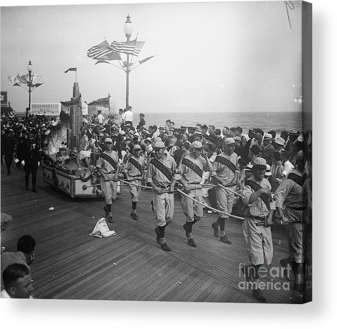 Crowd Of People Acrylic Print featuring the photograph Children Pull Float With Miss Pittsburgh by Bettmann