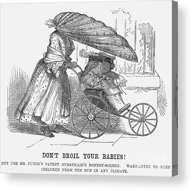 Engraving Acrylic Print featuring the drawing Dont Broil Your Babies, 1859 by Print Collector