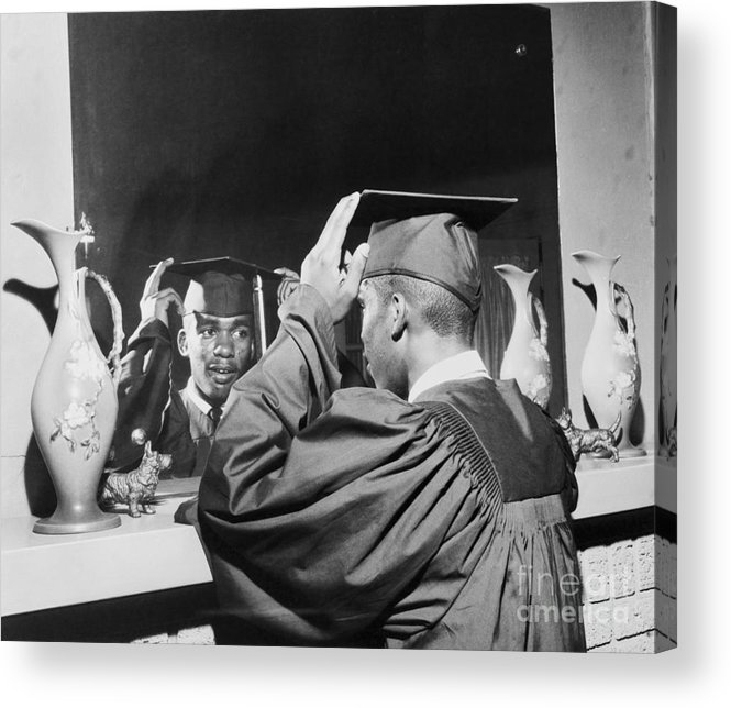 Young Men Acrylic Print featuring the photograph Ernest Green Wearing Cap And Gown by Bettmann