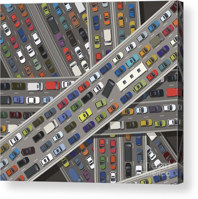 Land Vehicle Acrylic Print featuring the digital art Gridlock by Timoph