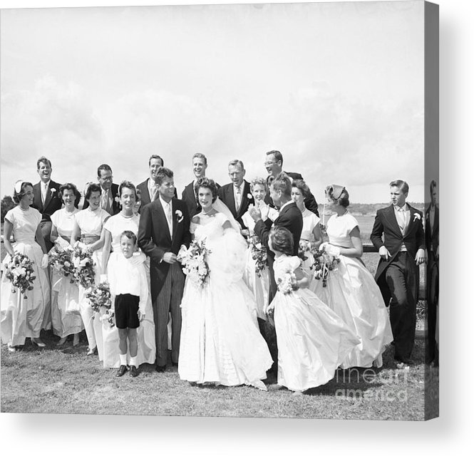 Young Men Acrylic Print featuring the photograph John And Jackie Kennedy On Wedding Day by Bettmann