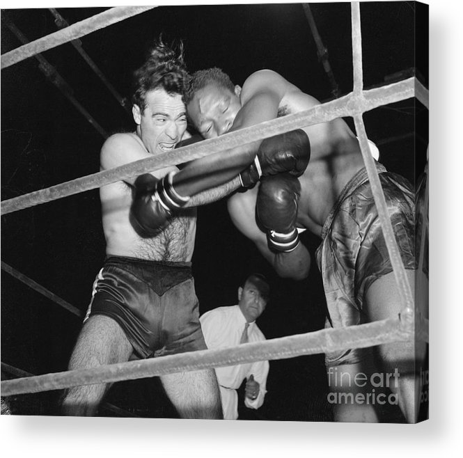People Acrylic Print featuring the photograph Marcel Cerdan And Holman Williams Boxing by Bettmann
