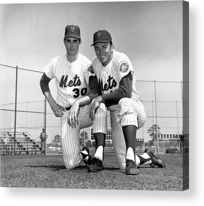 American League Baseball Acrylic Print featuring the photograph New York Mets Texas Battery Nolan Ryan by New York Daily News Archive