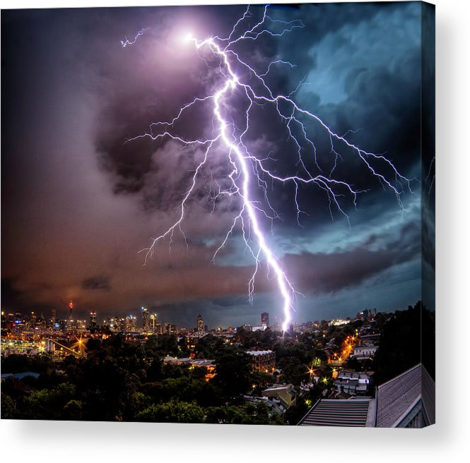 Tranquility Acrylic Print featuring the photograph Sydney Summer Lightning Strike by Australian Land, City, People Scape Photographer