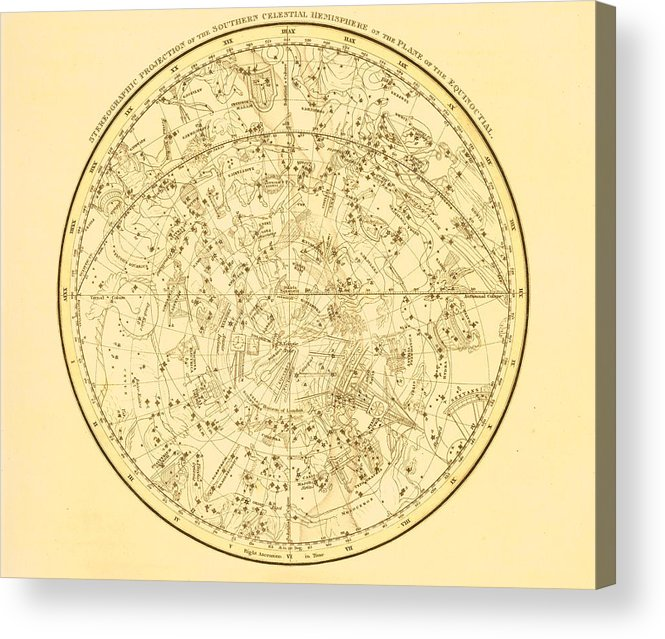 Engraving Acrylic Print featuring the digital art Zodiac Map by Nicoolay