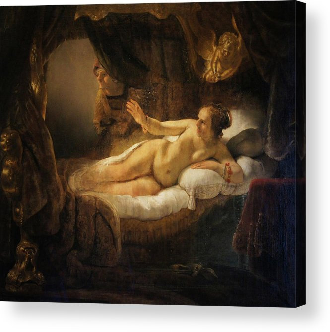 """""""danae"""" 1636 Acrylic Print featuring the painting Danae by Rembrandt"""