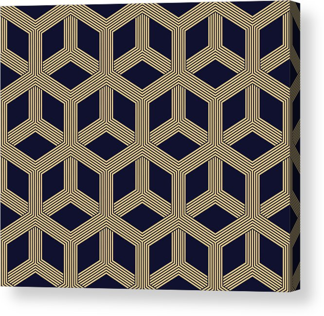 Black Color Acrylic Print featuring the drawing Seamless Geometric Pattern by Lasagnaforone
