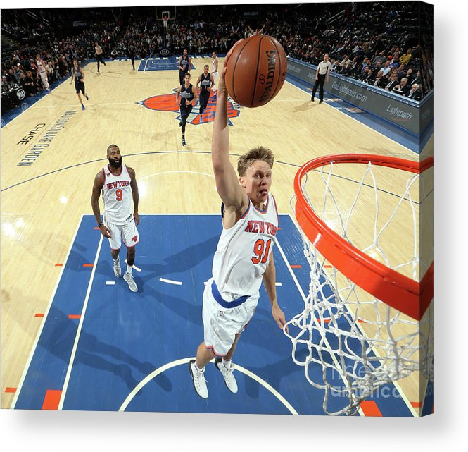 Nba Pro Basketball Acrylic Print featuring the photograph Mindaugas Kuzminskas by Nathaniel S. Butler