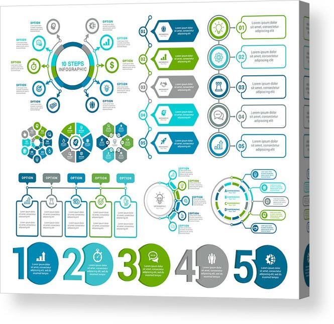Steps Acrylic Print featuring the drawing Infographic Elements by Artvea