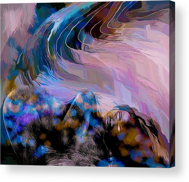 Modern Abstract Art Acrylic Print featuring the mixed media Abstract Island Girl Slumbering On The Beach by Joan Stratton