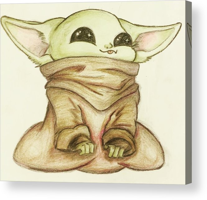 Baby Acrylic Print featuring the drawing Baby Yoda by Tejay Nichols
