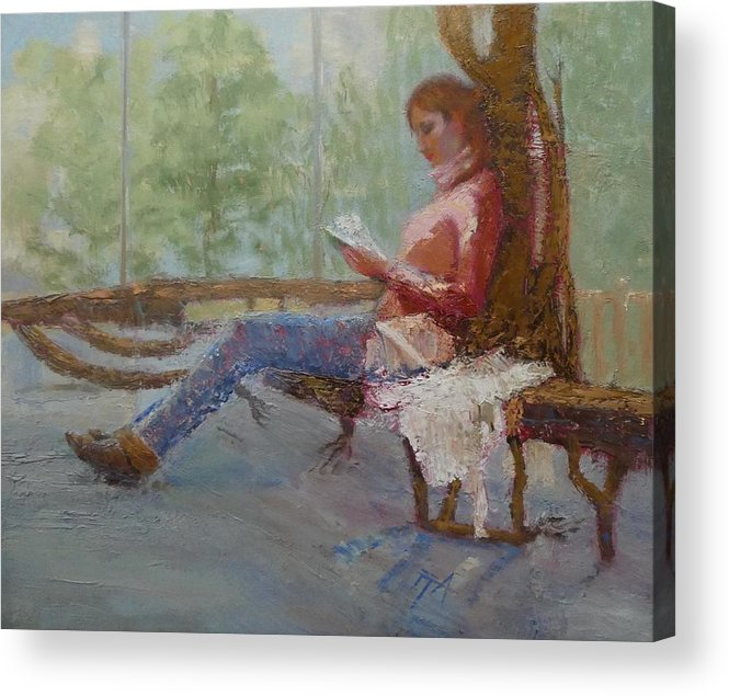 Girl Acrylic Print featuring the painting Break at Museum II by Irena Jablonski