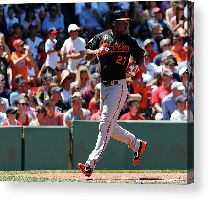 American League Baseball Acrylic Print featuring the photograph Delmon Young and Xander Bogaerts by Jim Rogash