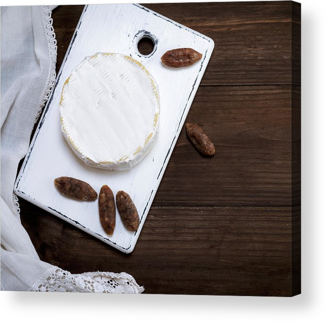 Unhealthy Eating Acrylic Print featuring the photograph Directly Above Shot Of Dessert With Dried Fruits On Table by Natalya Danko / EyeEm