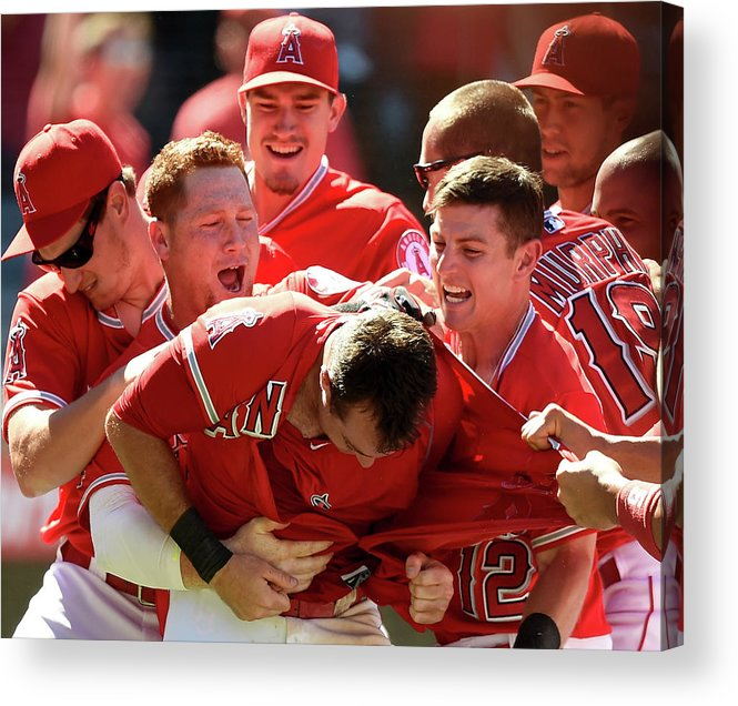 Ninth Inning Acrylic Print featuring the photograph Johnny Giavotella and Kole Calhoun by Harry How