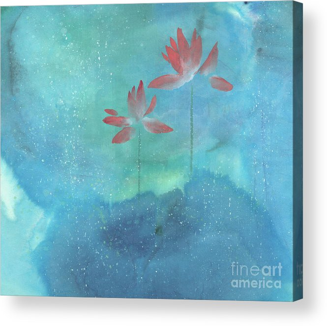 Lotus Emerged Out Of The Sludge Acrylic Print featuring the painting Luminous by Mui-Joo Wee