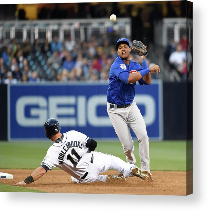 Double Play Acrylic Print featuring the photograph Will Middlebrooks and Starlin Castro by Denis Poroy