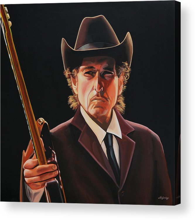Bob Dylan Acrylic Print featuring the painting Bob Dylan 2 by Paul Meijering