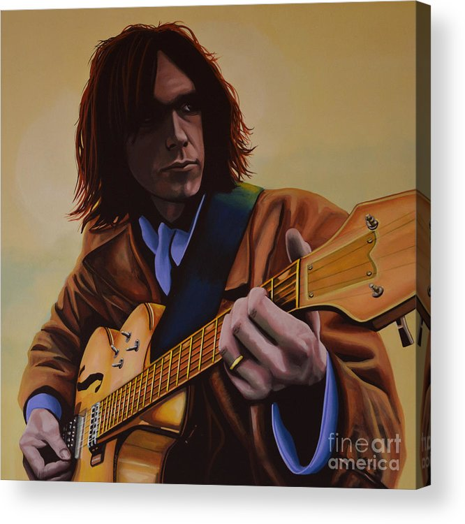 Neil Young Acrylic Print featuring the painting Neil Young Painting by Paul Meijering