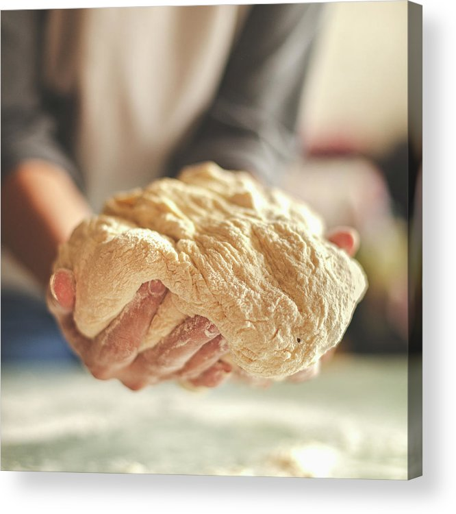 Kneading Acrylic Print featuring the photograph Making Yeast Dough by Nimis69