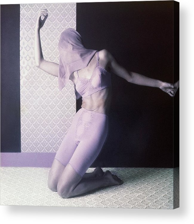 Studio Shot Acrylic Print featuring the photograph Model In Underwear With Scarf Over Face by Horst P. Horst