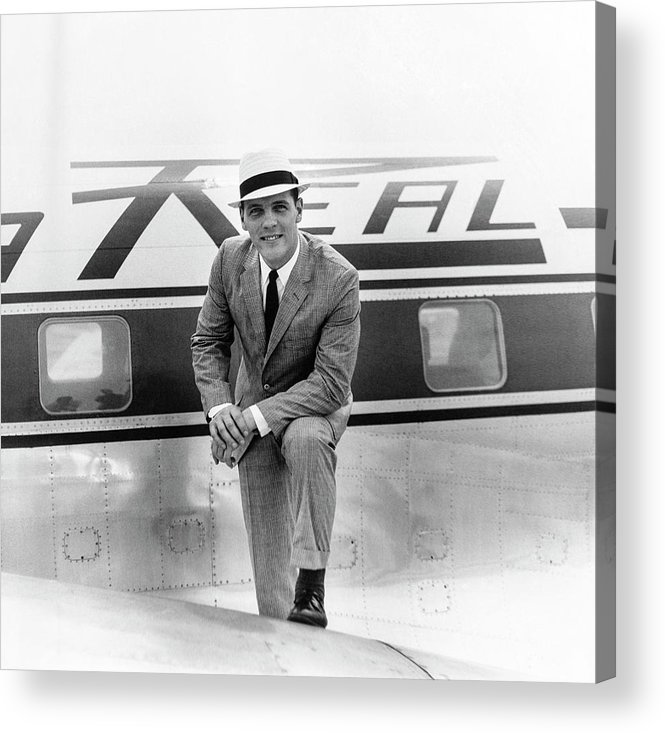 Airplane Acrylic Print featuring the photograph Model Wearing A Deansgate Suit by Richard Waite