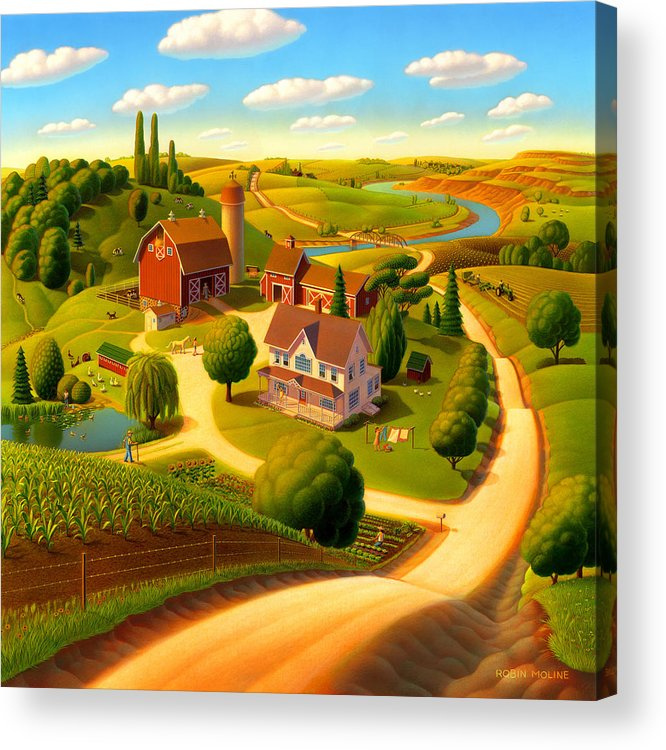 Summer On The Farm Acrylic Print featuring the painting Summer on the Farm by Robin Moline