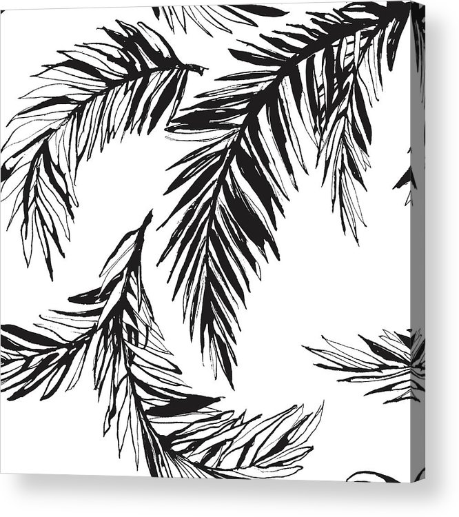 Tropical Rainforest Acrylic Print featuring the digital art Tropical Jungle Floral Seamless by Sv sunny