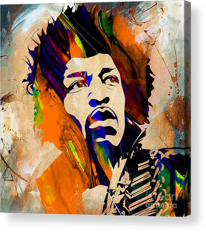 Jimi Hendrix Art Acrylic Print featuring the mixed media Jimi Hendrix Collection by Marvin Blaine