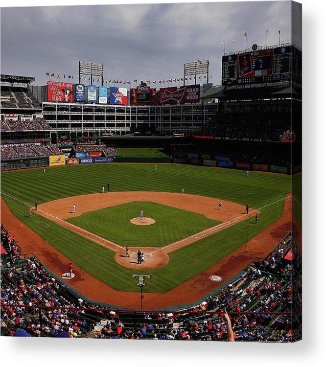 American League Baseball Acrylic Print featuring the photograph Houston Astros V Texas Rangers by Tom Pennington