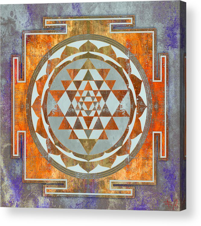 Sri Acrylic Print featuring the digital art Sri Yantra by Filippo B