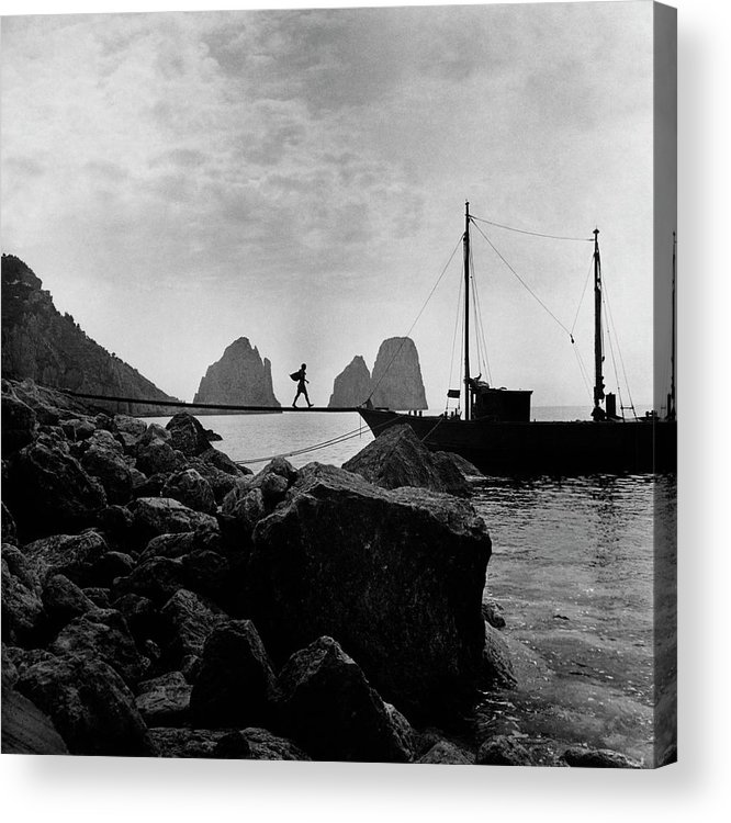 Capri Acrylic Print featuring the photograph A Boat Docked At Capri by Clifford Coffin