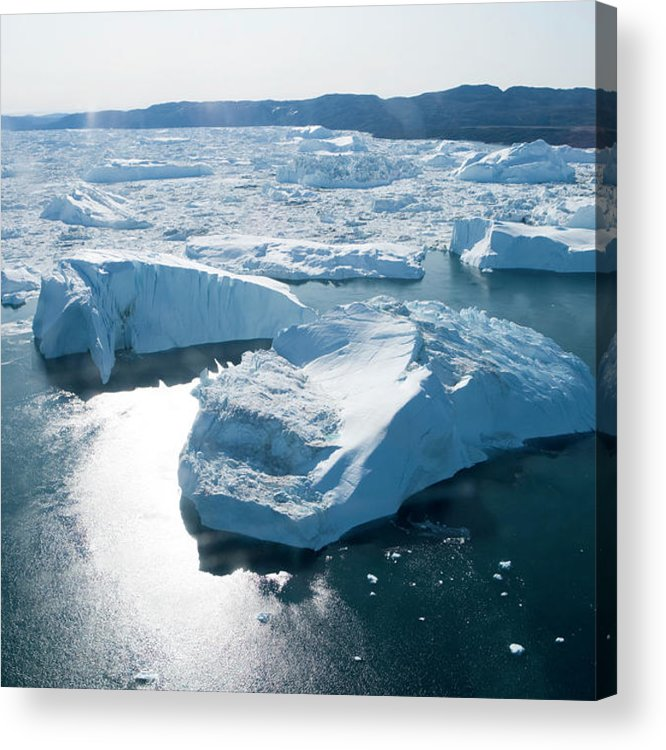 Melting Acrylic Print featuring the photograph Aerial Of Icebergs Of Ilulissat by Holger Leue