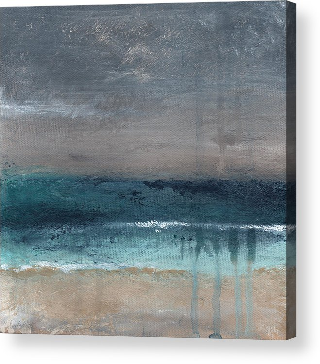 Abstract Landscape Acrylic Print featuring the painting After The Storm- Abstract Beach Landscape by Linda Woods