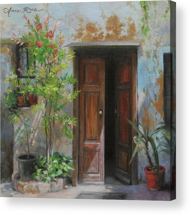 Milan Acrylic Print featuring the painting An Open Door Milan Italy by Anna Rose Bain