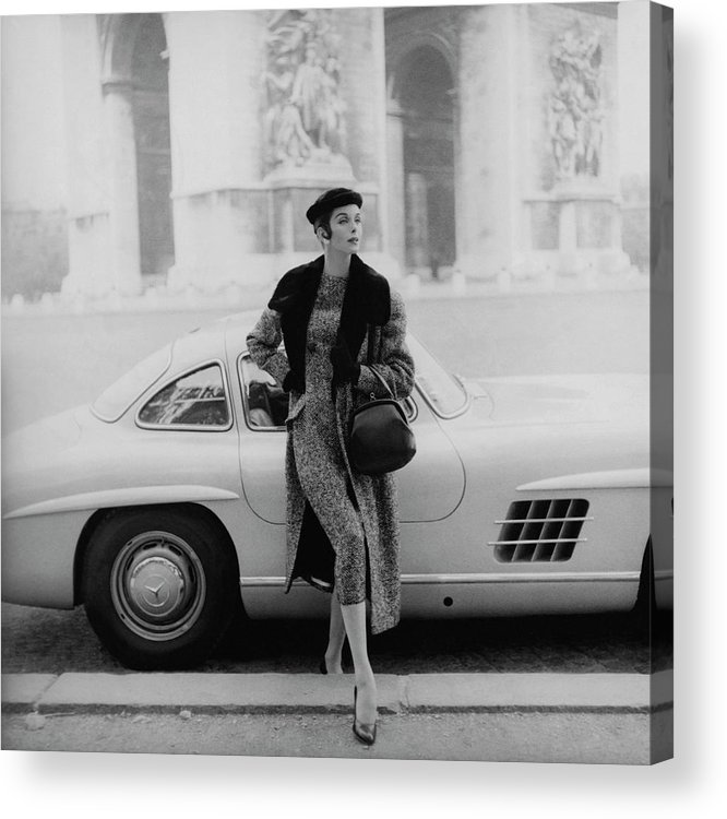 Fashion Acrylic Print featuring the photograph Anne St. Marie By A Mercedes-benz Car by Henry Clarke