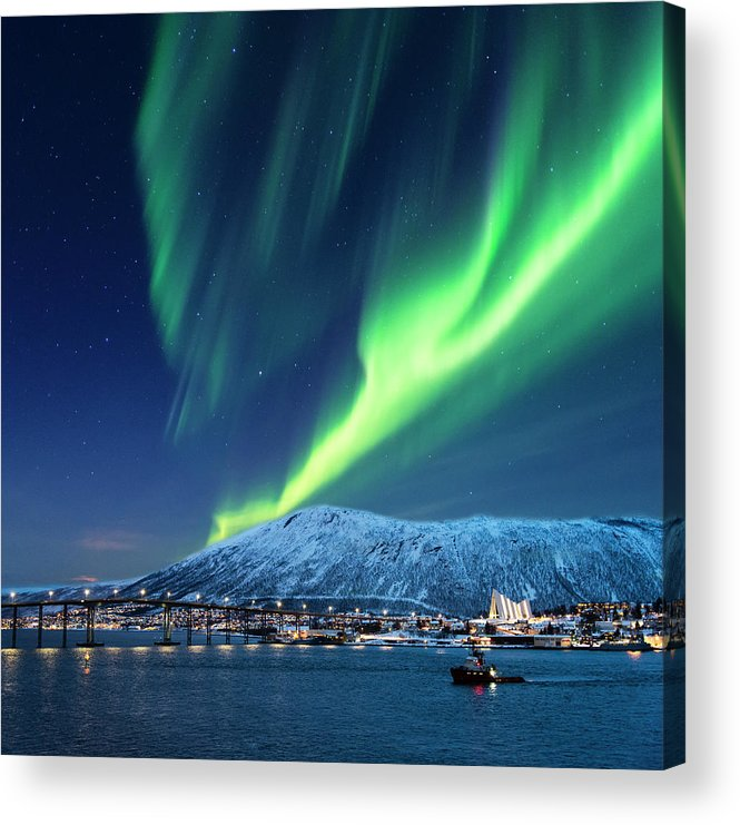 Scenics Acrylic Print featuring the photograph Aurora Borealis Over Tromso Port by Mike Hill