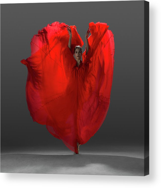 Ballet Dancer Acrylic Print featuring the photograph Ballerina On Pointe With Red Dress by Nisian Hughes
