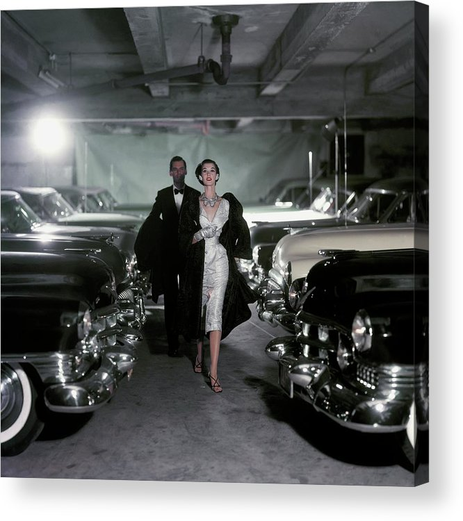 Fashion Acrylic Print featuring the photograph Barbara Mullen With Cars by John Rawlings